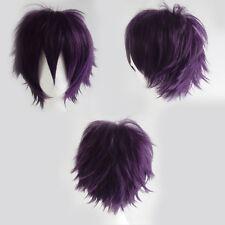 New UNISEX Male Female Cosplay Short Wig Blue Black Orange Straight Full Wigs sc