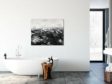 Original Black And White Modern Minimalist Textured Painting Storm At Sea Anya