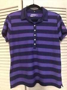 NWOT Nike Women's Dri-Fit Golf Polo Shirt Striped Size Large Purple Size Large