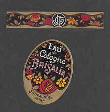 Ancienne  étiquette de Parfum Eau de Cologne  Brisalia Femme
