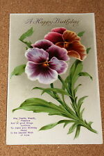 Vintage Postcard: Happy Birthday Greetings, Flowers, Pansies