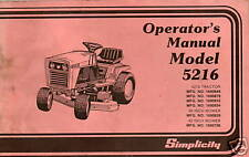 SIMPLICIITY LAWN & GARDEN MODEL 5216 OPERATORS MANUAL