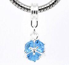 """December Blue Zircon Birthstone"" Dangle Ball Spacer Bead Charm and Bracelet"