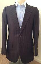 Kiton Brand New Size US 36 IT 46 Brown pinstripe Blazer Jacket Coat Suit