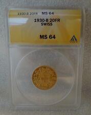 1930-B Swiss 20FR ANACS MS 64 Gold Coin 1930 B Switzerland 20 Francs MS64