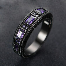 Purple Amethyst Women's 10kt Black Gold Filled Engagement Party Ring Size 7/8/10