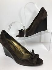 J Crew Womens Heel Wedge Shoes Leather Suede Dark Brown Size 8.5  Made in Italy