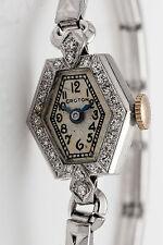Antique 1930s ART DECO HEXAGON .50ct Diamond Platinum Ladies Watch RARE WTY
