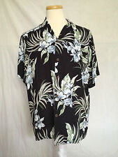 Hawaiian Button Up Shirt Sz Large Black Floral Leaf 100 % Rayon Made In Hawaii