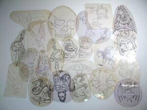 vtg 1960s 1970s Tattoo acetate stencil asstd Skulls Skeletons TX SK5