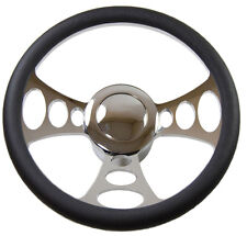"14"" Billet Nine Hole Steering Wheel & adapter & aluminum smooth horn button US"