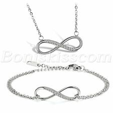 Womens Stainless Steel CZ Inlay Infinity Bracelet Pendant Necklace Set Love Gift