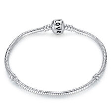 Trendy Chic Silver Plated Fashion Snake Chain Bracelet 3mm fit European Beads