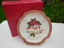 Fitz and Floyd Essentials Holiday Bells Christmas Cookie / Canape Plate 8�