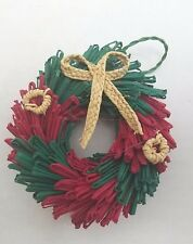 "Straw Christmas Wreath Tree Ornament Woven 3"" Red & Green Coloring Country"