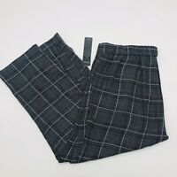 Massini Womens Size Large Plaid Printed Pull On Pants Ankle Length Gray Black