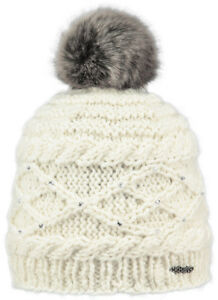 NEW  WOMEN'S LADY BARTS CLAIRE CREAM ADULT BEANIE FAUX FUR POM HAT