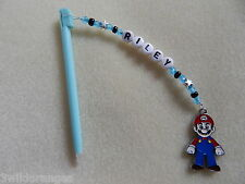 Personalised DS / DSi Stylus Pen with charm Mario blue pen