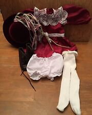 American Girl Doll Clothes Lot- Samantha 1993 Velvet Hat Red Dress Boots Tights