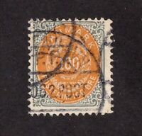 Denmark stamp stamp #34, used, 1875 - 1879, 100o gray and orange, SCV $60