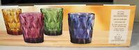 NEW ARTLAND HIGHGATE Lowball/DOF Glasses SET of (4) Blue Purple Green Amber 10oz