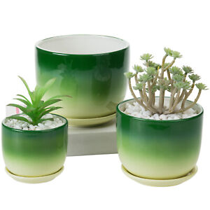 MyGift Set of 3 Small to Medium Green and Yellow Ceramic Flower Pots with Saucer