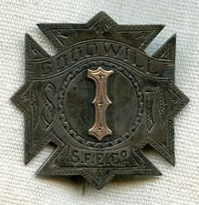 Obsolete 1870's Good Will Steam Fire Engine Co. # 1 Badge from Pottstown, PA