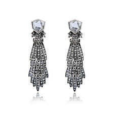 ANTHROPOLOGIE GLASS STONE CLEAR RHINESTONES DROP DANGLE EARRINGS – NEW BRIDAL