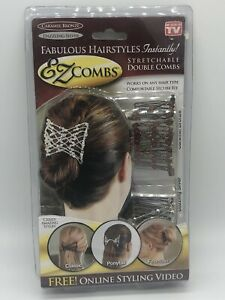 NEW EZ COMBS Caramel Bronze & Dazzling Silver Bride Easy Hair Styling Up-Do