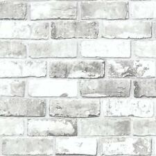 NEW Metalic White Brick Effect Feature Wallpaper