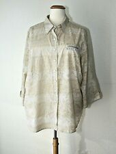 4bda5c6e5e0 WESTBOUND WOMAN Casual Top Blouse Button Front Roll Up Sleeves Cream /  Beige 3X