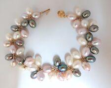 Multicolored natural freshwater pearls cluster linked bracelet 14kt