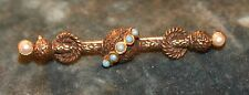 """Faux Seed Pearl Turquoise Stone 2"""" L Old Vintage Victorian Style Bar Pin Brass"""