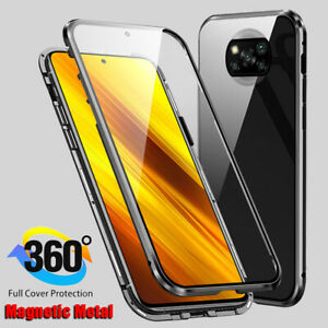 For Xiaomi Poco X3 NFC 360° Full Cover Double Side Glass Case Magnetic Metal