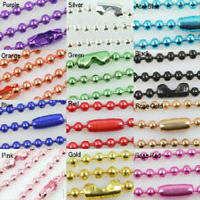 12 COLOR Lots 10/50pcs Ball Metal 2.4/1.5/2.0mm Beads Chains Necklace Finding