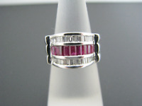 a351 Gorgeous  Ruby Diamond Wedding Band 14k White Gold Ring Size 5.5
