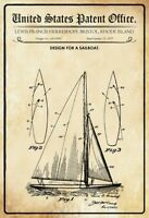 EE.UU. Patent Barco de Vela Sailboat 1927 Letrero Metal Arqueado Cartel Lata