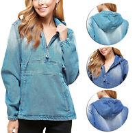 Women's Premium Cotton Casual Hoodie Half Zip Pullover Denim Jean Jacket