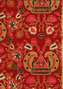 100% Cotton Fabric Indonesian Batik Rust Red Gold White Black Floral Headdress