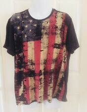 American Garage T Shirt XL American Flag Distressed 4th of July USA Pride Black