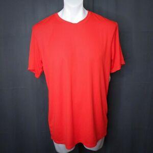 Asics Mens Performance T Shirt Large Red Crew Neck Flatback Mesh Breathable NEW