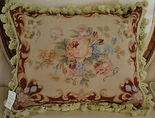 "16""x 20"" French Country Style Handmade Petite Point Needlepoint Pillow WM-26"