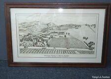 Etching of Wine Cellar & Residence of Beringer Brothers Winery St Helena CA