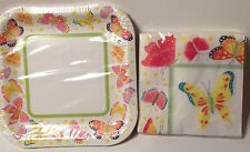 NEW PARTY SET BUTTERFLY PAPER PLATES NAPKINS