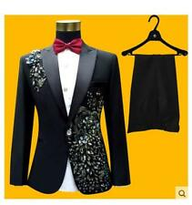 Mens Embroider Suit Jacket Pant Trouser Wedding Sequin Bowtie Blazesr Coat 2pc