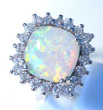 "GORGEOUS WHITE  FIRE OPAL/WHITE TOPAZ   RING UK Size ""T"" US 10.5"