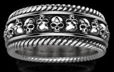 Gothic Vampire Skull Mens Biker oxidized Ring Sterling silver S925