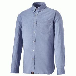Dickies Light Blue Work Shirt Oxford Long Sleeve Mens Smart Button Down Collar