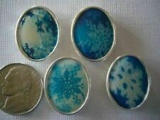 2 Hole Slider Beads Oval Snowflake Picture Tile #4