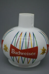 Vintage Budweiser Beer Globe Light Fixture Sconce, White Milk Glass Globe